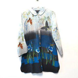 Citron Floral Silk Tunic Art to Wear Blouse Blue
